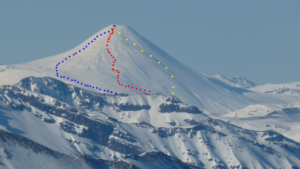 Routes on Volcan Antuco from Nevados de Chillan